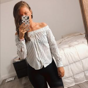 Cute Off the Shoulder Striped Urban Heritage Top